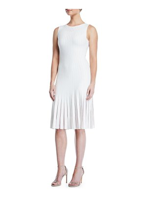 Zac Posen Sleeveless Crewneck Striped Tulle-Inset Knit A-Line Dress
