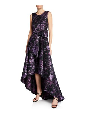 ZAC Zac Posen Clarissa Sleeveless Gilded Jacquard High-Low Gown with Bow