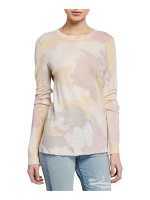 Zadig & Voltaire Camo-Print Long-Sleeve Crewneck Cashmere Top