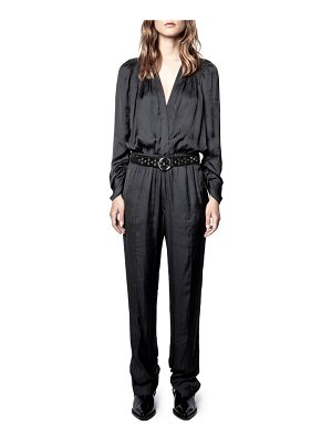 Zadig & Voltaire captain belted satin long sleeve jumpsuit