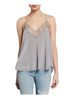 Zadig & Voltaire Christy Strass Sleeveless Blouse with Lace Trim