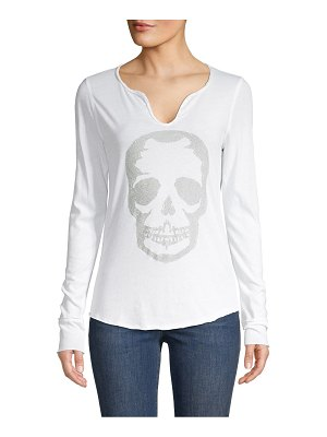 Zadig & Voltaire Embellished Skull Long Sleeve Tee
