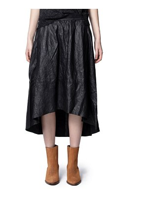 Zadig & Voltaire joslin crinkled leather high/low skirt