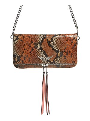 Zadig & Voltaire rock snake embossed leather convertible clutch