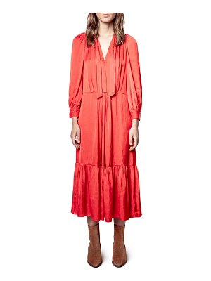 Zadig & Voltaire Roland Long Tiered Satin Dress