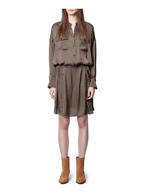Zadig & Voltaire romeo rumpled satin long sleeve shirtdress