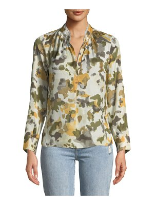 Zadig & Voltaire Tink Camo-Print Satin Long-Sleeve Blouse