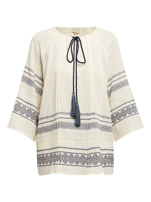 ZEUS + DIONE aegina embroidered cotton blend blouse