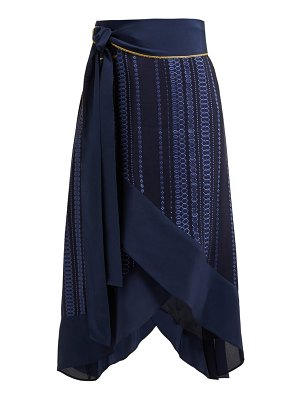 ZEUS + DIONE muses striped jacquard silk blend wrap skirt
