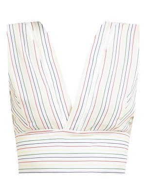 ZEUS + DIONE pelion striped tie waist cotton cropped top