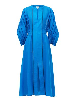 ZEUS + DIONE rhea ruched-sleeve cotton-blend dress