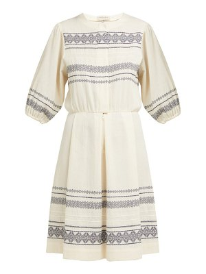 ZEUS + DIONE skyros embroidered cotton blend midi dress