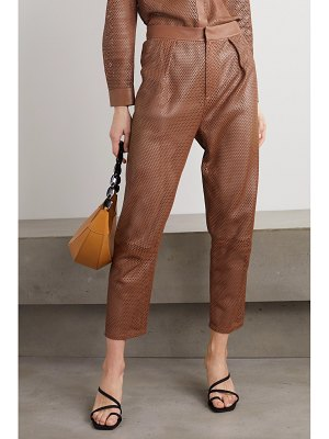 Zeynep Arcay perforated leather tapered pants