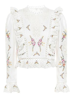 Zimmermann allia floral cotton and linen top