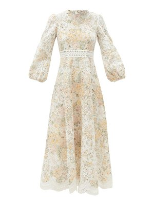 Zimmermann amelie floral-print broderie-anglaise linen dress
