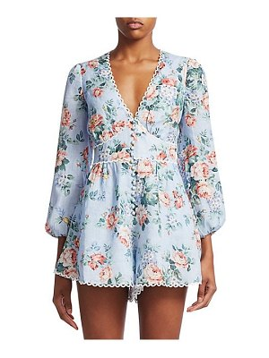 Zimmermann bowie floral linen long-sleeve playsuit