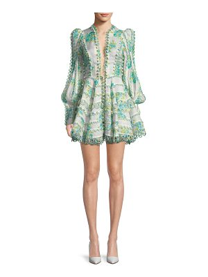 Zimmermann Breeze Honeymooners Plunging Embroidered Flared Cocktail Dress