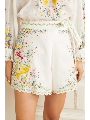 Zimmermann carnaby belted embroidered linen and cotton-blend shorts