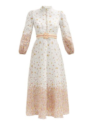 Zimmermann carnaby belted floral-print linen midi dress