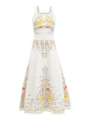Zimmermann carnaby floral-embroidered linen midi dress