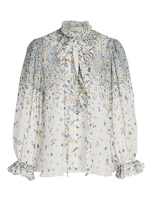 Zimmermann carnaby floral tie neck blouse