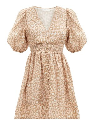Zimmermann carnaby puffed-sleeve leopard-print linen dress