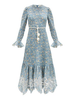 Zimmermann carnaby rope-belt floral-print linen midi dress