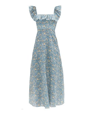 Zimmermann carnaby ruffle-neck floral-print linen midi dress