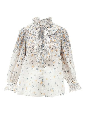 Zimmermann carnaby ruffled floral-print ramie blouse