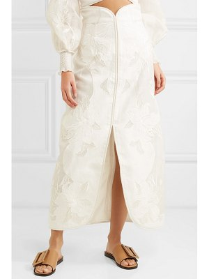 Zimmermann corsage embroidered linen and silk-blend canvas skirt