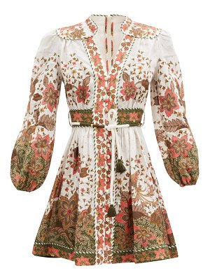 Zimmermann empire batik floral-print linen dress