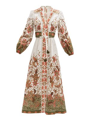 Zimmermann empire batik-print linen-poplin midi dress