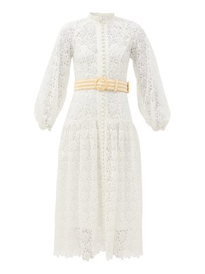 Zimmermann empire belted guipure-lace midi dress
