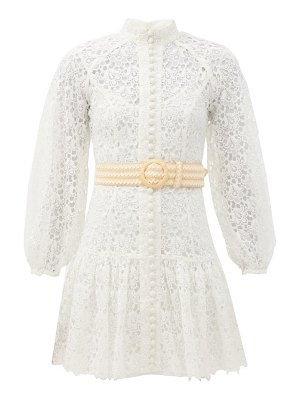 Zimmermann empire belted guipure-lace mini dress
