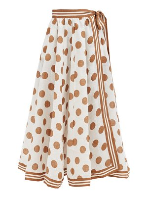 Zimmermann empire flared polka-dot linen-poplin wrap skirt