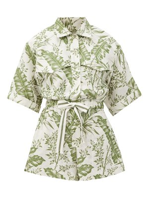 Zimmermann empire palm-print linen playsuit