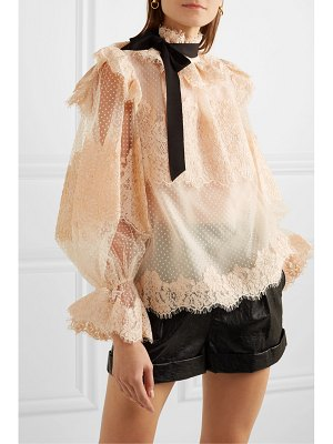 Zimmermann espionage corded lace and point d'esprit tulle blouse