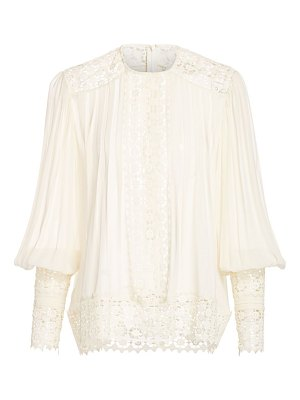 Zimmermann espionage pintuck & lace inset blouse