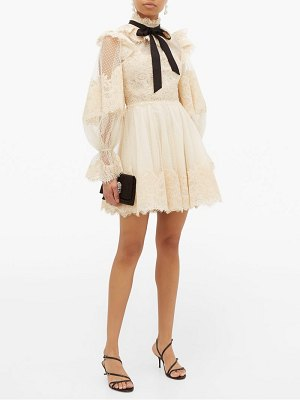 Zimmermann espionage pussy bow guipure lace mini dress
