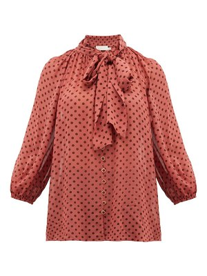 Zimmermann espionage pussy-bow polka-dot chiffon blouse
