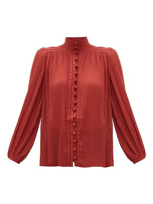 Zimmermann espionage swiss dot plissé chiffon blouse