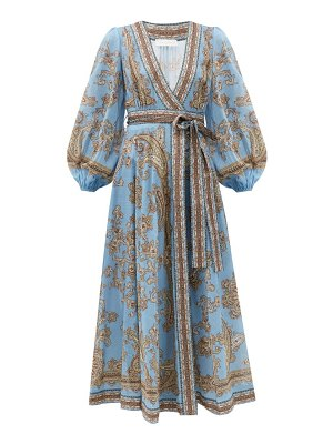 Zimmermann fiesta paisley-print linen wrap dress