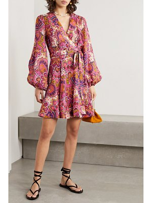 Zimmermann fiesta paisley-print linen wrap mini dress