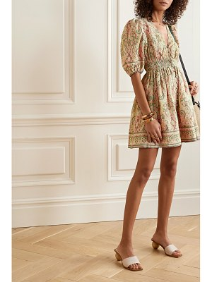 Zimmermann freja shirred paisley-print linen mini dress