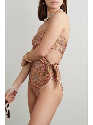 Zimmermann freja tie-detailed cutout paisley-print bandeau swimsuit