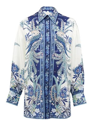 Zimmermann glassy placement bird and floral-print silk shirt