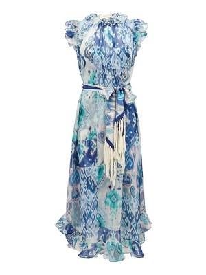 Zimmermann glassy ruffled ikat-print cotton-blend midi dress