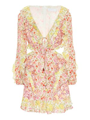 Zimmermann goldie floral linen minidress