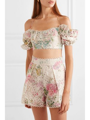 Zimmermann heathers off-the-shoulder floral-print broderie anglaise cotton top