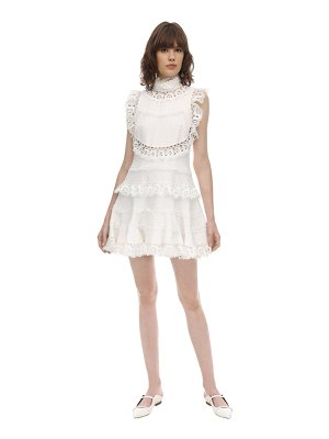 Zimmermann High neck lace mini dress